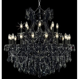 Maria Theresa Black Twenty-Four Light Chandelier with Jet/Black Royal Cut Crystals