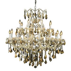 Maria Theresa Chrome Twenty-Four Light 36-Inch Chandelier with Royal Cut Golden Teak Smoky Crystal