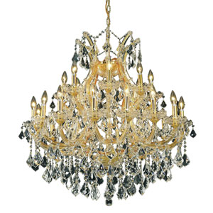 Maria Theresa Gold Twenty-Four Light 36-Inch Chandelier with Royal Cut Clear Crystal