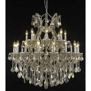 Maria Theresa Golden Teak Twenty-Four Light Chandelier with Golden Teak/Smoky Royal Cut Crystals