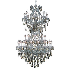 Maria Theresa Chrome Thirty-Four Light 36-Inch Chandelier with Royal Cut Golden Teak Smoky Crystal