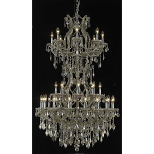 Maria Theresa Golden Teak Thirty-Four Light Chandelier with Golden Teak/Smoky Royal Cut Crystals
