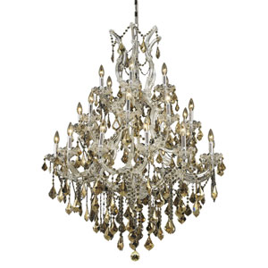 Maria Theresa Chrome Twenty-Eight Light Chandelier with Golden Teak/Smoky Royal Cut Crystals