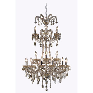 Maria Theresa Royal Cut Crystal Golden Teak 24 Light 50-in Chandelier