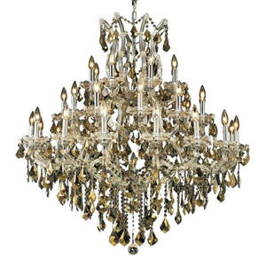 Maria Theresa Chrome 37-Light Chandelier with Swarovski Strass/Golden Teak Elements Crystal