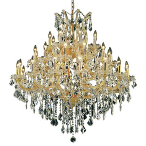 Maria Theresa Gold Thirty-Seven Light 44-Inch Chandelier with Royal Cut Clear Crystal