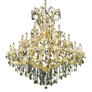 Maria Theresa Gold 41-Light Chandelier with Swarovski Strass/Golden Teak Elements Crystal