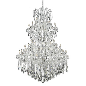 Maria Theresa Chrome Sixty-One Light 54-Inch Chandelier with Royal Cut Clear Crystal