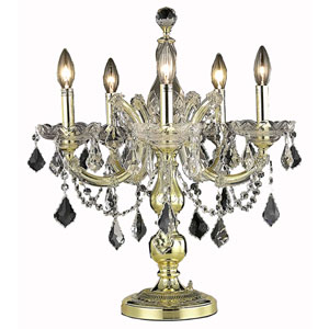 Maria Theresa Gold Five-Light Table Lamp with Clear Royal Cut Crystals