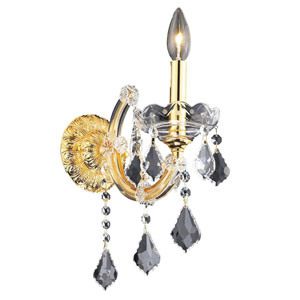 Maria Theresa Gold One-Light 8-Inch Wall Sconce with Royal Cut Clear Crystal