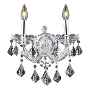 Maria Theresa Chrome Two-Light 12-Inch Wall Sconce with Royal Cut Clear Crystal