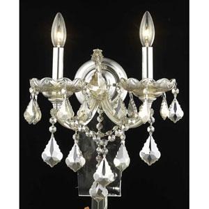 Maria Theresa Golden Teak Two-Light Sconce with Golden Teak/Smoky Strass Swarovski Crystals