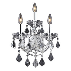 Maria Theresa Chrome Three-Light 12-Inch Wall Sconce with Royal Cut Clear Crystal