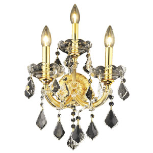 Maria Theresa Gold Three-Light 12-Inch Wall Sconce with Royal Cut Clear Crystal