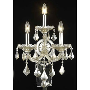 Maria Theresa Golden Teak Three-Light Sconce with Golden Teak/Smoky Royal Cut Crystals