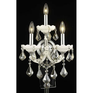 Maria Theresa White Three-Light Sconce with Golden Teak/Smoky Royal Cut Crystals