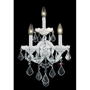 Maria Theresa White Three-Light Sconce with Clear Royal Cut Crystals