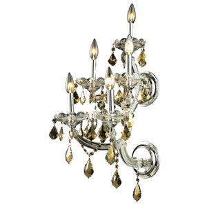 Maria Theresa Chrome Five-Light 12-Inch Wall Sconce with Royal Cut Golden Teak Smoky Crystal