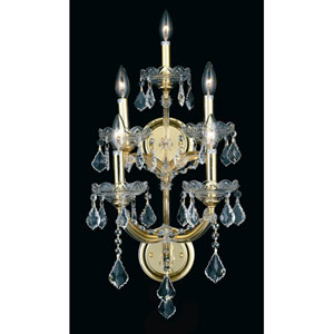 Maria Theresa Gold Five-Light 12-Inch Wall Sconce with Royal Cut Clear Crystal