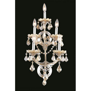 Maria Theresa Swarovski Strass Crystal Golden Teak Five Light 29.5-in Wall Sconce