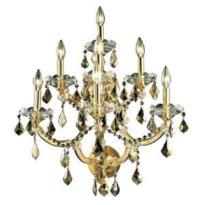 Maria Theresa Gold Seven-Light 22-Inch Wall Sconce with Royal Cut Golden Teak Smoky Crystal