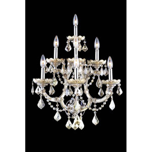 Maria Theresa Royal Cut Crystal Golden Teak Seven Light 29.5-in Wall Sconce