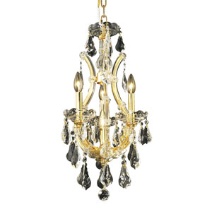 Maria Theresa Gold Four-Light 12-Inch Mini Chandelier with Royal Cut Clear Crystal