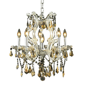 Maria Theresa Chrome Six-Light 20-Inch Chandelier with Royal Cut Golden Teak Smoky Crystal