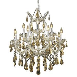 Maria Theresa Chrome Thirteen-Light 27-Inch Chandelier with Royal Cut Golden Teak Smoky Crystal