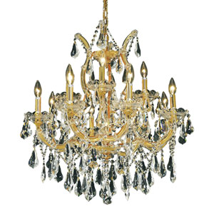 Maria Theresa Gold Thirteen-Light 27-Inch Chandelier with Royal Cut Clear Crystal