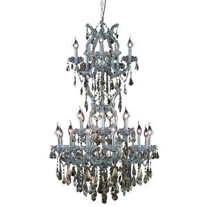 Maria Theresa Chrome Twenty-Five Light 30-Inch Chandelier with Royal Cut Golden Teak Smoky Crystal