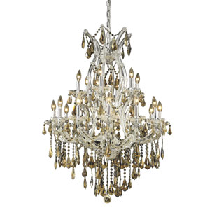 Maria Theresa Chrome Nineteen-Light 32-Inch Chandelier with Royal Cut Golden Teak Smoky Crystal