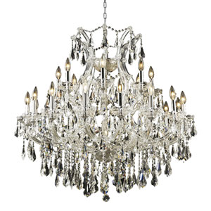 Maria Theresa Chrome Twenty-Four Light 36-Inch Chandelier with Royal Cut Clear Crystal
