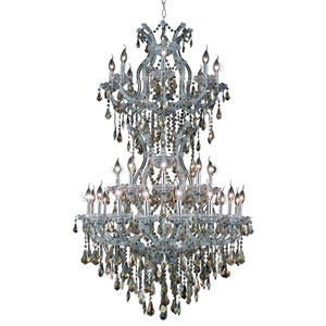Maria Theresa Chrome 34-Light Chandelier with Swarovski Strass/Golden Teak Elements Crystal