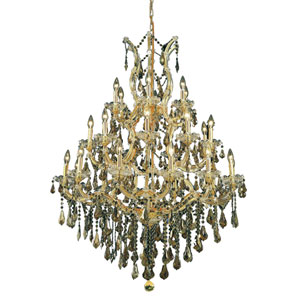 Maria Theresa Gold Twenty-Eight Light Chandelier with Golden Teak/Smoky Royal Cut Crystals