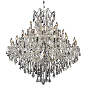 Maria Theresa Chrome Thirty-Seven Light 44-Inch Chandelier with Royal Cut Clear Crystal