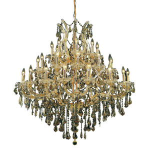 Maria Theresa Gold Thirty-Seven Light 44-Inch Chandelier with Royal Cut Golden Teak Smoky Crystal