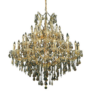 Maria Theresa Gold 37-Light Chandelier with Swarovski Strass/Golden Teak Elements Crystal