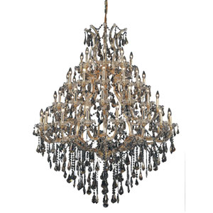 Maria Theresa Gold Forty-Nine Light 46-Inch Chandelier with Royal Cut Golden Teak Smoky Crystal