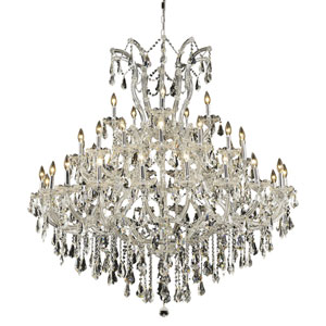 Maria Theresa Chrome Forty-One Light 52-Inch Chandelier with Royal Cut Clear Crystal