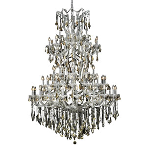 Maria Theresa Chrome Sixty-One Light 54-Inch Chandelier with Royal Cut Golden Teak Smoky Crystal