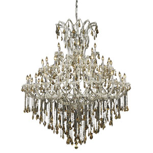 Maria Theresa Chrome Forty-Nine Light 60-Inch Chandelier with Royal Cut Golden Teak Smoky Crystal