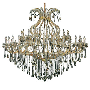 Maria Theresa Gold Forty-Nine Light 72-Inch Chandelier with Royal Cut Golden Teak Smoky Crystal