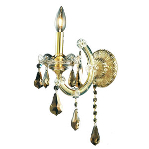 Maria Theresa Gold One-Light 8-Inch Wall Sconce with Royal Cut Golden Teak Smoky Crystal