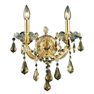 Maria Theresa Gold Two-Light 12-Inch Wall Sconce with Royal Cut Golden Teak Smoky Crystal