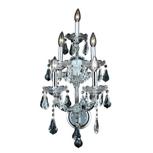 Maria Theresa Chrome Five-Light 12-Inch Wall Sconce with Royal Cut Clear Crystal