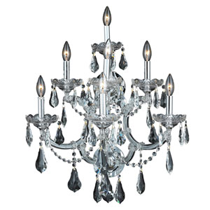 Maria Theresa Chrome Seven-Light 22-Inch Wall Sconce with Royal Cut Clear Crystal
