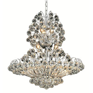 Sirius Chrome Fourteen-Light 24-Inch Chandelier with Royal Cut Clear Crystal