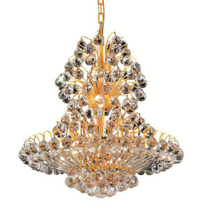 Sirius Gold Fourteen-Light 24-Inch Chandelier with Royal Cut Clear Crystal