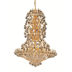Sirius Gold Fourteen-Light 28-Inch Chandelier with Royal Cut Clear Crystal